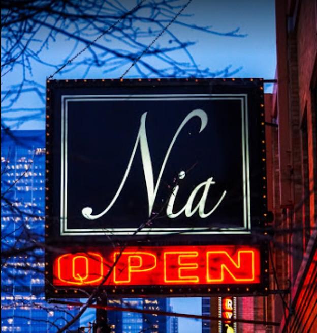 Nia Restaurant Sign on Restaurant Row in West Loop